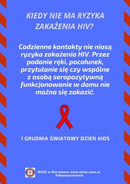 """Plakat z tytułem """"Kiedy nie ma ryzyka zakażenia HIV"""" i treścią wyjaśniającą kiedy ryzyko zakżeniem HIV nie występuje."""